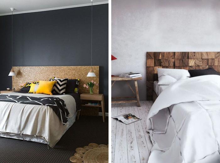 projet relooking de la chambre à coucher à petit budget, fabriquer une tete de lit en bois qui sera un véritable accent déco