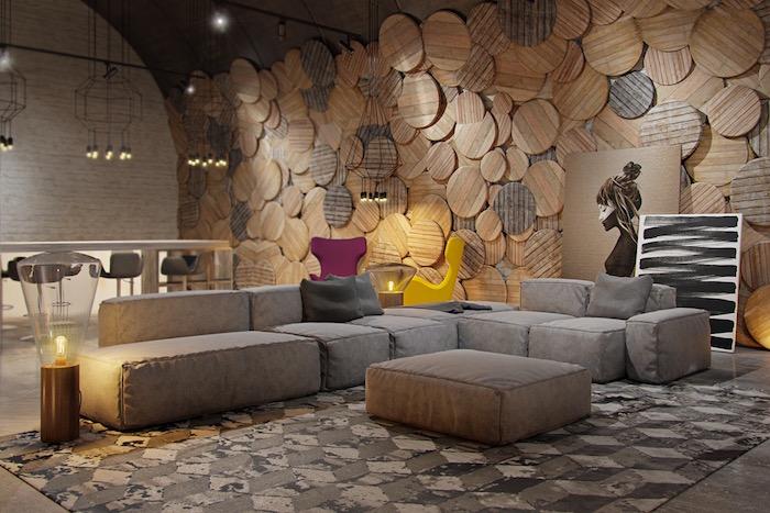 comment habiller un mur en bois, décoration avec rondins de bois sur les murs, photo deco murale bois