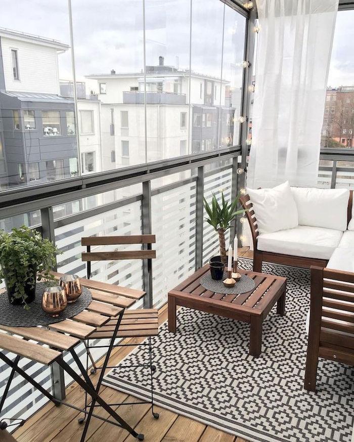 decorer un balcon fermé intérieur, salon de terrasse appartement