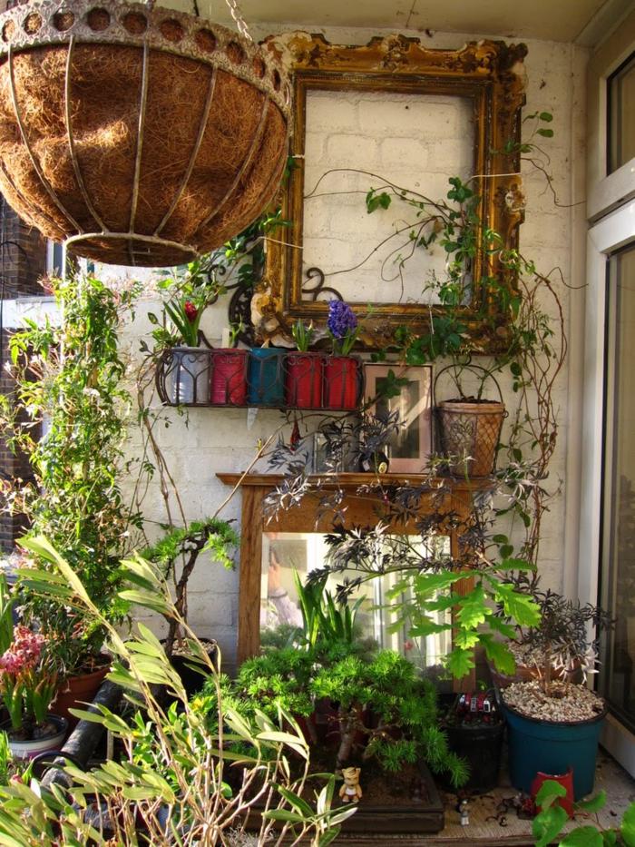 deco balcon fleuri rustique, jardiniere de terrasse pour appartement