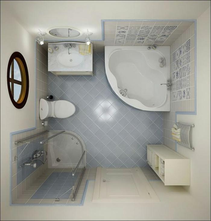 salle de bain 5m2, modele de salle de bain, carrelage en bleu pastel, salle de bain italienne petite surface, petite fenêtre ronde avec cadre noir, meuble colonne blanc pour le rangement des serviettes, baignoire d'angle, carrelage bleu pastel pour la douche italienne et pour la baignoire