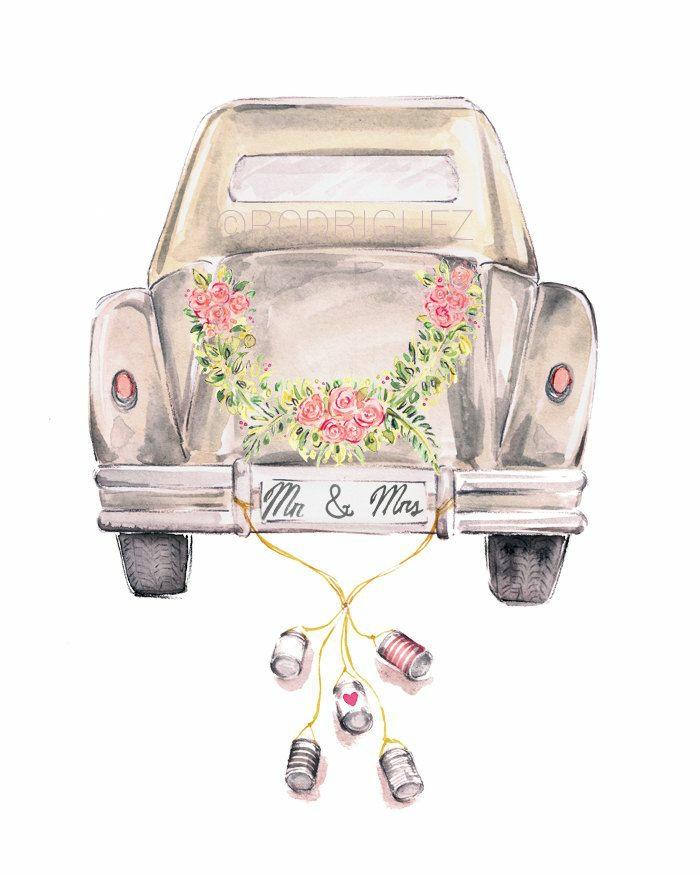 1001 id es de l 39 illustration mariage pour c l brer votre amour - Dessin voiture mariage ...