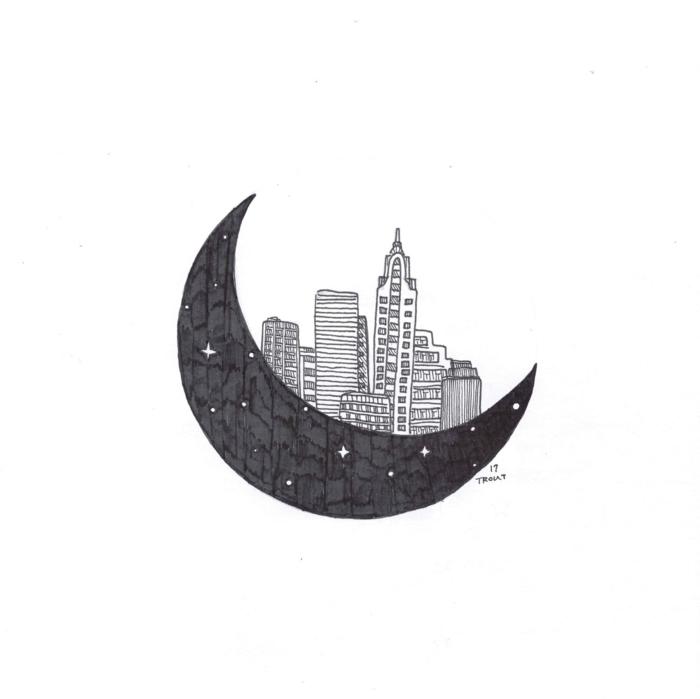 Image géométrique de dessin simple à recréer cool idée lune et cité