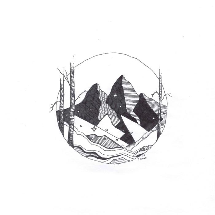 Fleur geometrique dessin geometrique a faire avec une ligne montagnes