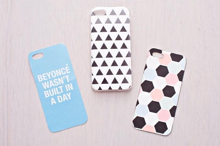 exemples de coque iphone personnalisé avec photos ou patron imprimé à motifs géométrique ou phrase inspirante