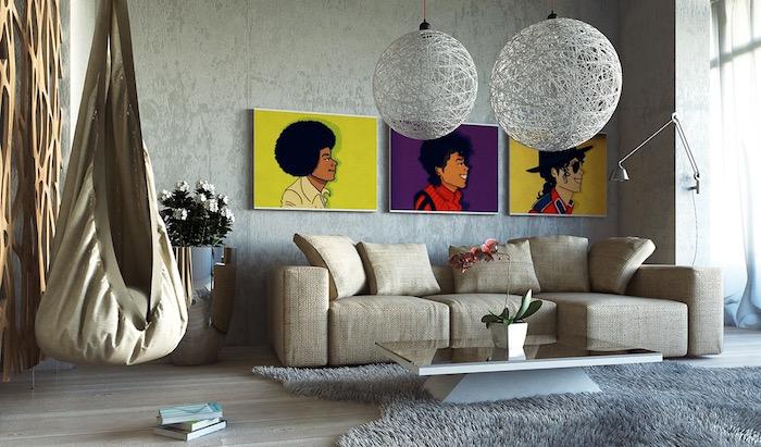 tableaux pop art pour décoration de salon, cadre mickael jackson deco, tableau couleurs pop