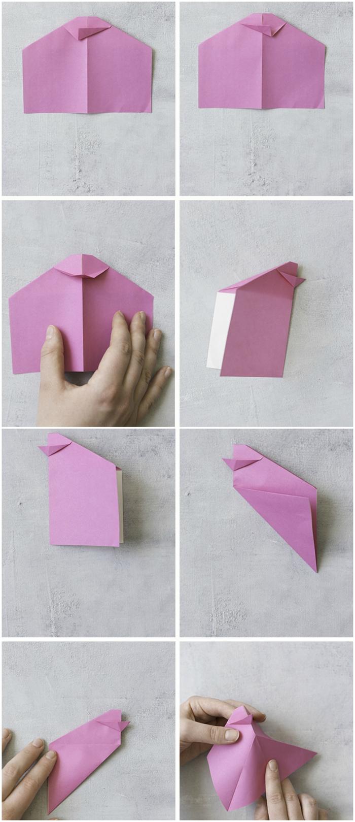 un modèle d'origami oiseau coloré pour la déco d'une table festive, activité manuelle pour la fête de pâques