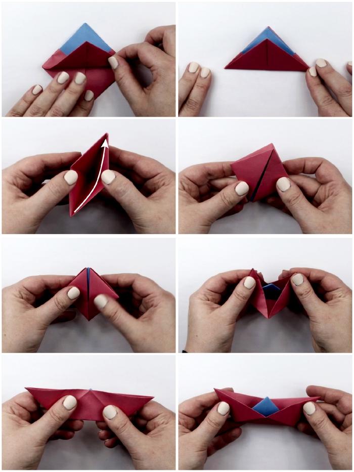 comment faire un bateau en papier, comment faire des origami mini-bateaux parfaits pour la décoration des cartes de voeux, modèle d'origami facile pour débutant