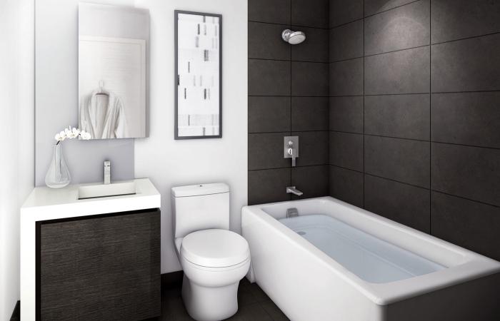 idee deco salle de bain stylée en blanc et noir matte, modèle de carrelage mural en noir mate, armoire sous lavabo noir et blanc