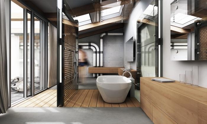 décoration de la salle de bain en bois et verre de style industriel avec tuyaux apparents blanc et noir, paroi séparant en verre et noir