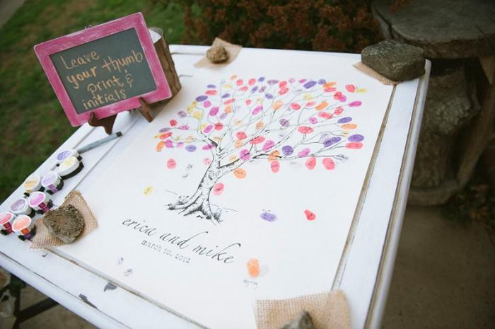 modèle d'arbre a empreinte a telecharger gratuitement avec feuillage de couleurs variées, collections de tampons encreur de couleur orange violet jaune et rose