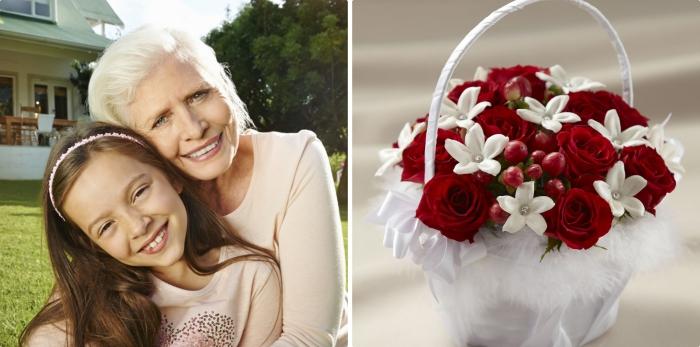 bouquet de fleurs rouges et blanches pour la fete des grands mere, photo de mamie aux cheveux blancs et sa petite fille sur le gazon
