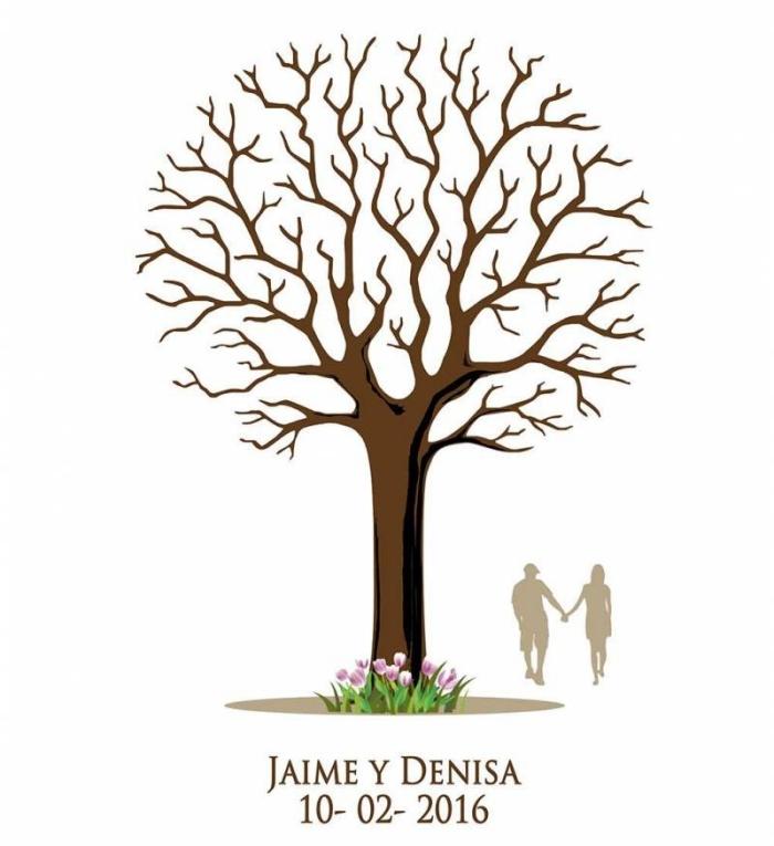 design d'un arbre a empreinte a imprimer ou dessin avec un arbre sans feuillage et un couple amoureux