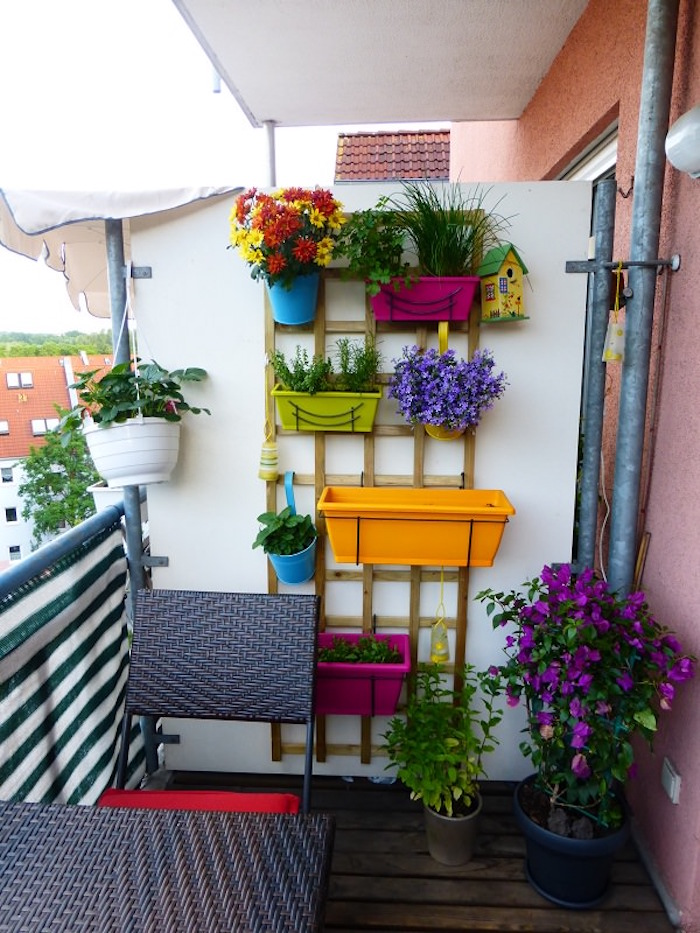 jardinière murale pour balcon, pots de fleurs couleurs pour terrasse