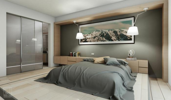 sol en planches de bois, chevet en bois, mur gris, lit posé au sol, plafond gris clair