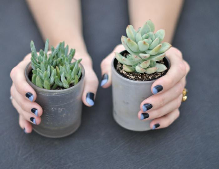 Nail art vernis semi permanent modele vernis semi permanent bleu et noir cool idée