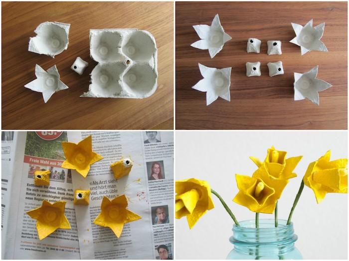 jonquilles en alvéoles jaunes et des tiges vertes en papier dans un bocal en verre, activité manuelle primaire de printemps