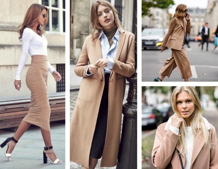 style et élégance en blouse blanche combinée avec une jupe haute taille beige et chaussures à talons, chemise bleu clair en dessus de pull over kaki