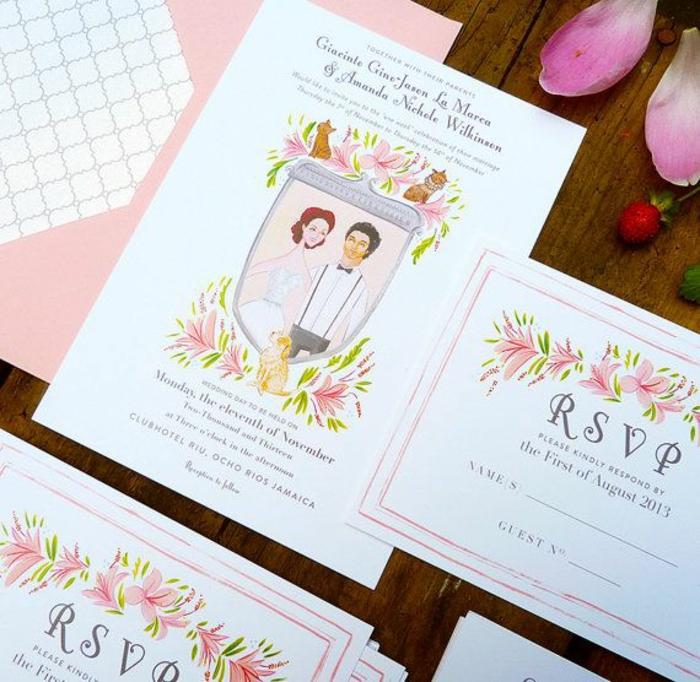 Quelle image faire part mariage couple marié dessin rsvp
