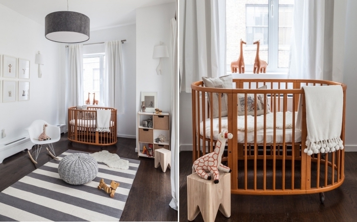pièce aux murs blancs et plancher de bois foncé couvert de tapis rectangulaire gris et blanc, idée déco chambre bébé neutre aux murs blancs
