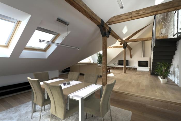 table de déjeuner, tapis gris, construction avec du bois authentique, peinture blanche