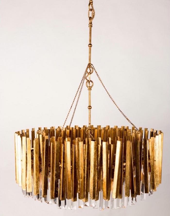 chandelier en or luxueux, modele lustre doré design rond artixe, mobilier recouvert d'or