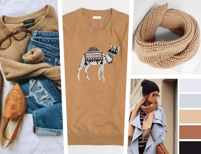 idée comment assortir ses vêtements de couleur camel, paire de jeans déchirés combinés avec escarpins camel en velours et pull over femme