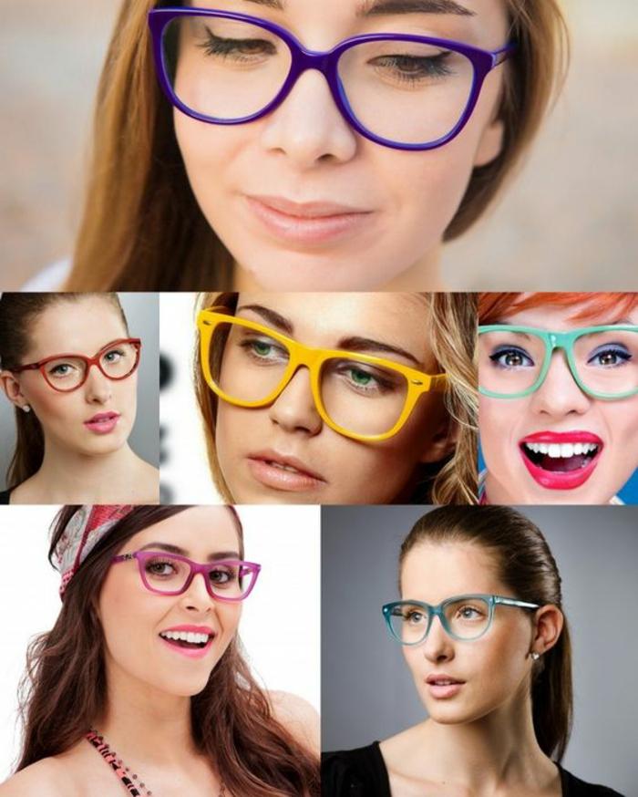 quelle lunette pour quel visage, montures multicolores, en couleurs pop acidulées, en voir de toutes les couleurs, collage avec six jeunes femmes souriantes