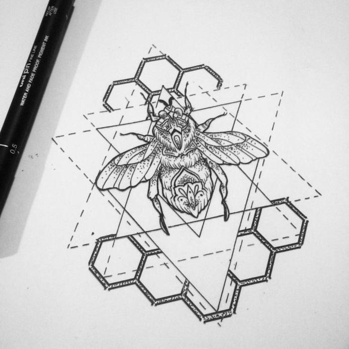 Tirer une ligne dessin avec des formes géométriques bee adorable