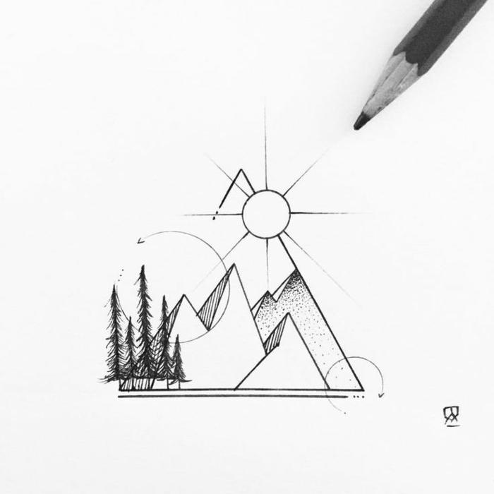 Facile dessin géométrique facile idée comment dessiner montagnes