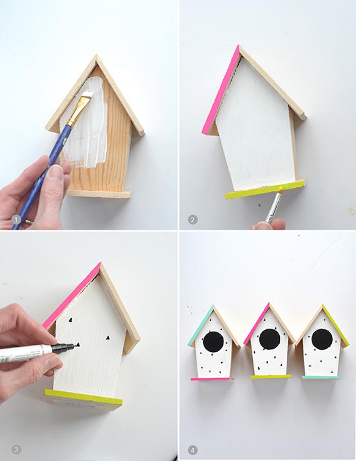 exemple de mangeoire oiseau a faire soi meme en forme de maisonette blanche en bois au toit décoré de couleurs, activite manuel