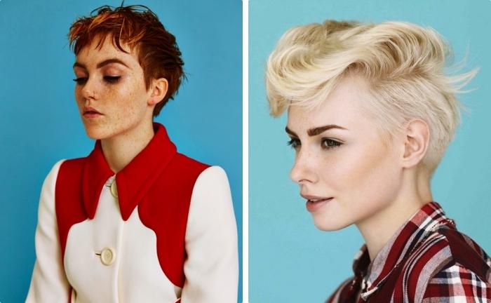 quelle coiffure cheveux court choisir, stylisation des cheveux déstructurés avec gel ou mousse, modèle de manteau blanc et rouge pour femme