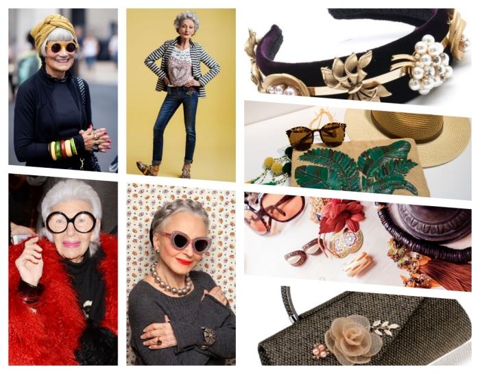 bijoux et accessoire à offrir à sa mamie, idée cadeau grand mere à design fashion, femme âgée à esprit jeune avec coiffure en tresse et lunettes de soleil chic