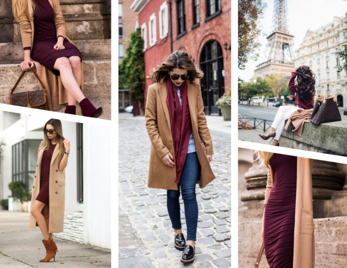 bottines camel femme à combiner avec une robe bordeaux, jeans foncés avec chemise bleu claire et un manteau long camel