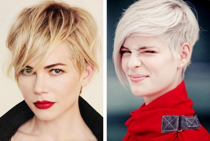 alternative de coloration moderne pour coupe cheveux court femme, cheveux de base naturelle châtain foncé aux pointes blondes