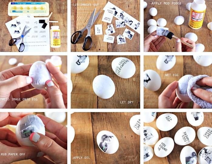 étapes à suivre pour faire une découpage en photos personnelles sur l'oeuf à coquille ultra blanche, activité manuelle facile avec photos