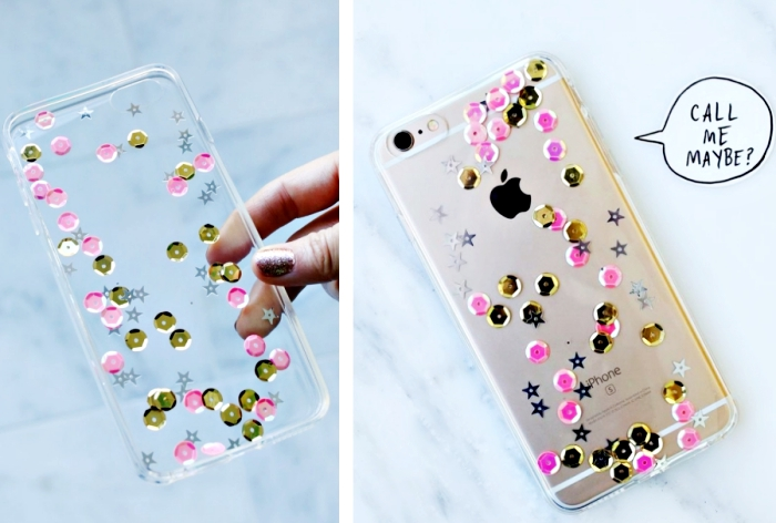exemple de coque transparente en silicone décorée avec petits strass en rose et or, comment coller des strass sur portable