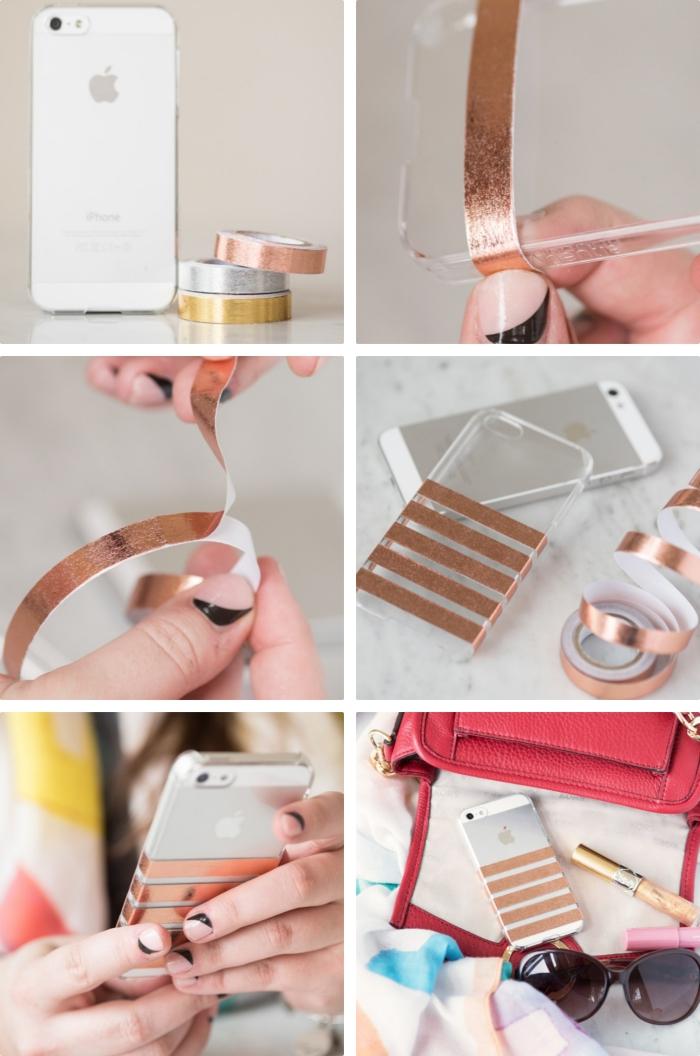 comment utiliser un ruban adhésif de couleur rose doré pour décorer une coque de portable en silicone transparente