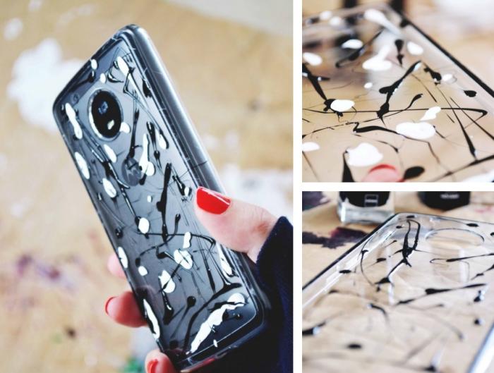 comment décorer sa coque transparente de portable avec vernis à ongles blanc et noir pour faire une coque stylée