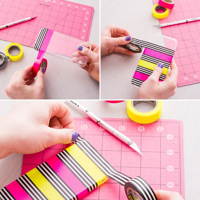 projet DIY facile pour personnaliser coque iphone 6 avec washi tape de couleurs rose et jaune, comment décorer un portable avec ruban adhésif coloré