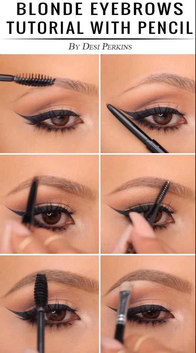 tuto maquillage des sourcils au crayon a sourcil, comment bien dessiner les sourcils pour avoir un contour naturel