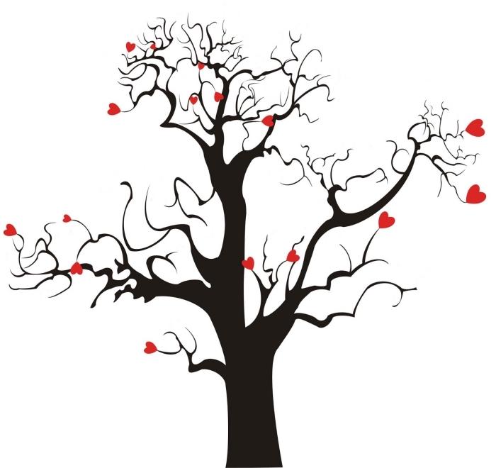petits coeurs sur les branches d'un arbre sans feuillage à décorer avec les empreintes des invités au mariage