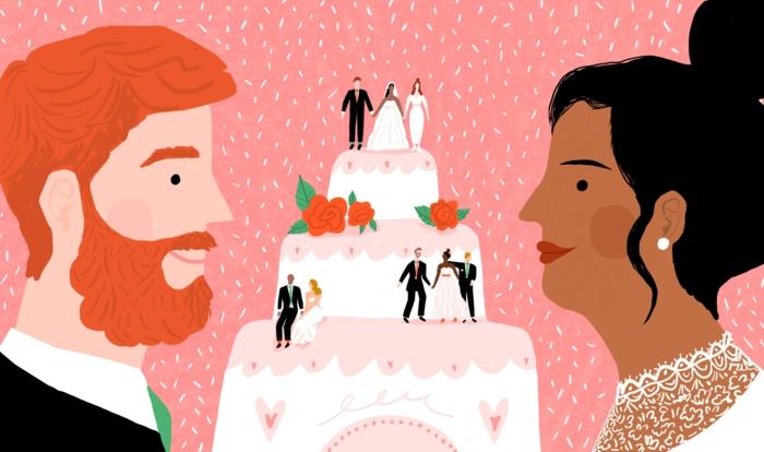 Dessin couple de mariés image mariage illustré dessin gateau incités
