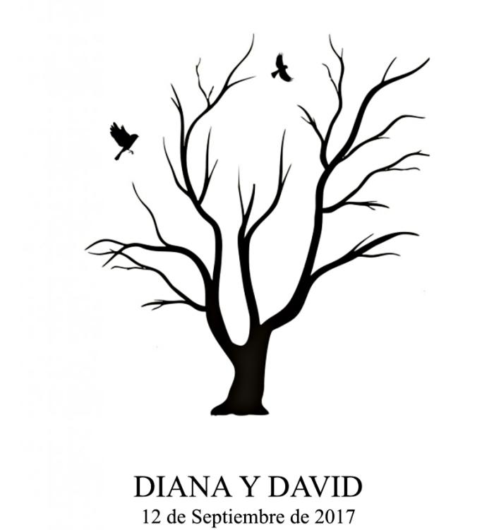 dessin avec arbre et oiseaux volants symbolisant l'amour éternel, souvenir à décorer avec les empreintes des invités