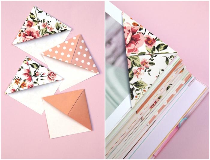 idée pour un joli accessoire de lecture en papier, un marque-page origami facile réalisé en joli papier aux motifs vintage imprimés