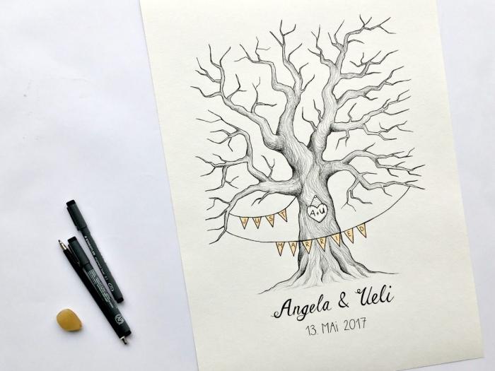 apprendre à dessiner un arbre facile sans feuillage avec un signe sur le tronc et guirlande décorative en papier coloré