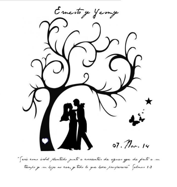 exemple pour un arbre empreinte mariage avec citation inspirante et date du mariage au-dessus du dessin à design couple jeunes mariés