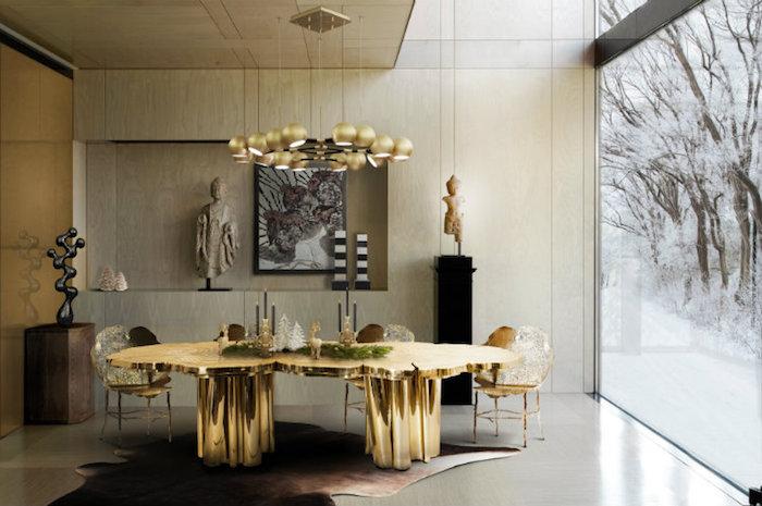 décoration de salon design de luxe, meuble en or haut de gamme, table dorée contemporaine