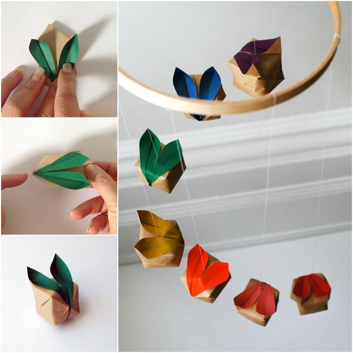 comment créer un mobile déco avec de petits lapins en origami, comment faire des origami pour la décoration d'intérieur