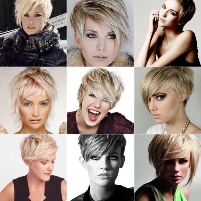 choisir sa coiffure femme aux cheveux courts, coupe déstructurée avec frange asymétrique, coloration blonde aux reflets rose pastel